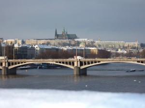 Prag borg med sne