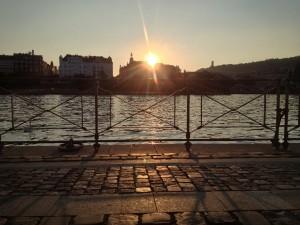 Prag naplavka solnedgang